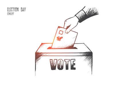 Concept du jour du scrutin. Main de la personne dessinée à la main prononce son vote. Bulletin de vote au bureau de vote isolé illustration vectorielle.