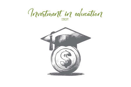 Investment in education concept. Hand drawn graduation hat with on money. Saving for higher education isolated vector illustration. Illustration