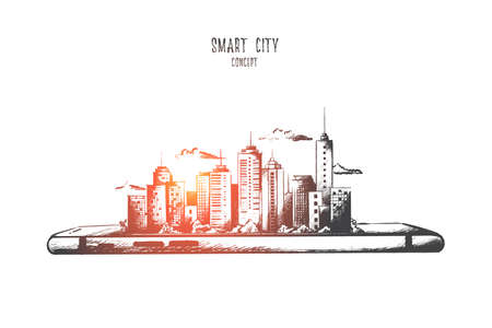 Smart city concept. Hand drawn smartphone with modern city scape. Little model of city with skyscrapers isolated vector illustration. Stock Illustratie