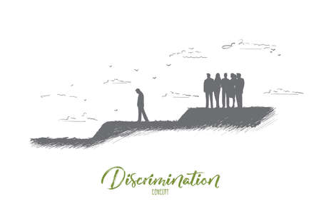 Discrimination concept. Hand drawn crowd of people expels one man from their community. Gossip people against one person isolated vector illustration. Illustration