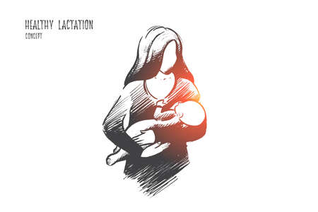Healthy lactation concept. Hand drawn mother breastfeeding baby. Baby eating mothers milk isolated vector illustration.