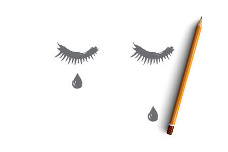 Sadness concept. Hand drawn closed eyes with a teardrop on face. Tear runs down on cheek isolated vector illustration. Illustration