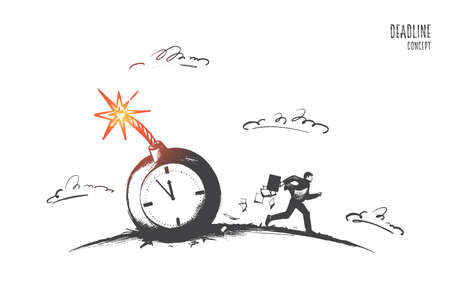 Deadline concept. Hand drawn businessman do urgent job in stress. Person running fast to do work in time, isolated vector illustration. Illustration
