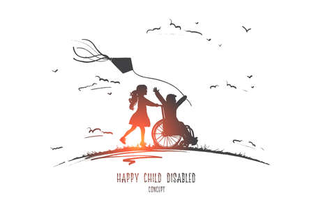 Happy child disabled concept. Hand drawn little girl pushing boy in wheel chair.