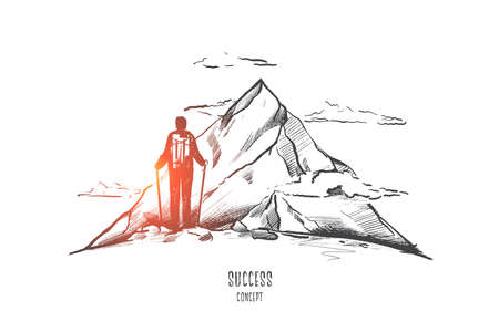Success concept. Hand drawn person on top of mountain as symbol of success. Man with backpack trekking isolated vector illustration.