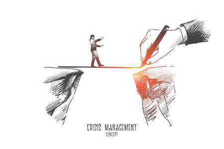 Crisis management concept. Hand drawn businessman walking on a rope, symbol of crisis time. Risking and making careful steps isolated vector illustration.