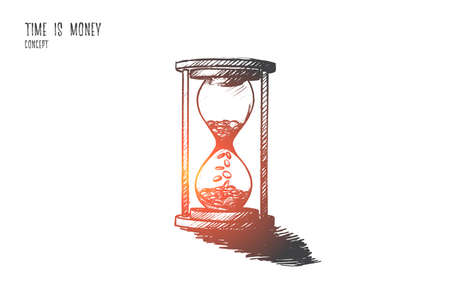 Time is money concept. Hand drawn hourglass as symbol of time and finance. Coins inside of clock isolated vector illustration. Ilustrace