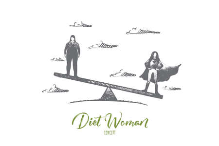 Diet woman concept. Hand drawn slim and thick women standing on scales. Symbol of body care and dieting isolated vector illustration.