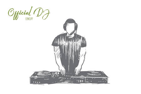 Official DJ concept. Hand drawn charismatic disc jockey at the turntable. Musician at nightclub during party isolated vector illustration.