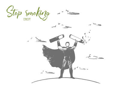 Stop smoking concept. Hand drawn superhero broking cigarette. Stop unhealthy habits isolated vector illustration.