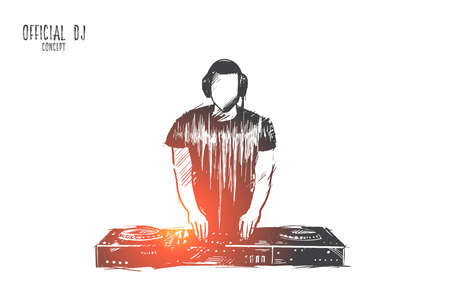 Official DJ concept. Hand drawn charismatic disc jockey at the turntable.