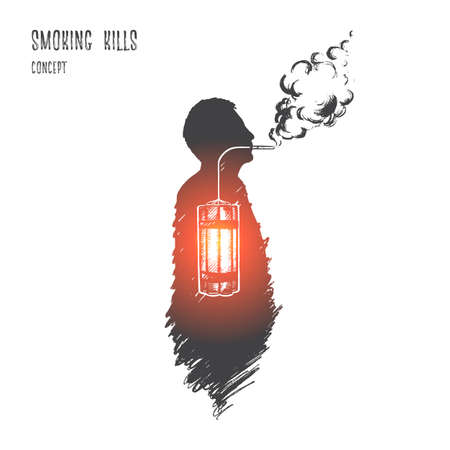 Smoking kills concept. Hand drawn nicotine is killer. Person smoking isolated vector illustration. Vectores