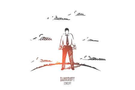 Bankrupt concept. Hand drawn man with empty pockets. Unemployed person isolated vector illustration.
