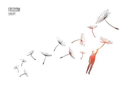 Freedom concept. Hand drawn man flying with dandelions. Person flying and free isolated vector illustration. Vettoriali