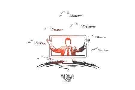 Webinar concept. Hand drawn man teaching through internet. Online seminar isolated vector illustration.