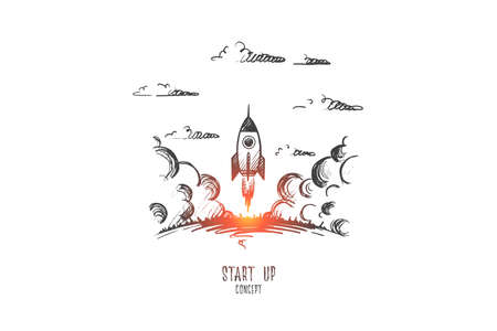 Start up concept. Hand drawn rocket flies up. Rocket as symbol of start up isolated vector illustration.
