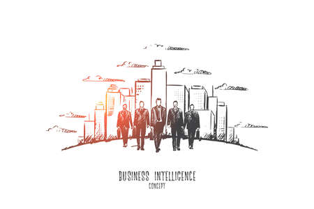 Business intelligence concept. Hand drawn male businessmen in suits going, modern buildings on background. Serious male persons isolated vector illustration.