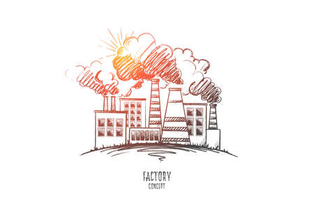 Factory concept. Hand drawn chemical plant urban landscape. Modern factory outside view isolated vector illustration. Illustration