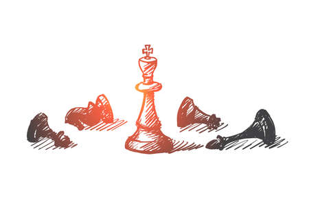 Vector hand drawn concept sketch of whipped chessmen and standing King in center