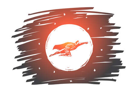 Vector hand drawn hero concept sketch with hero in traditional superman clothing flying in the sky in front of the Moon