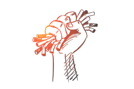 Hand drawn no smoking concept sketch with human hand strongly compressing cigarretes.