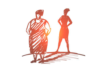 Vector hand drawn self respect concept sketch with fat woman standing and shadow of slim lady behind