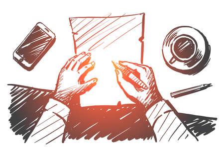 Bosquejo del concepto de tiempo de trabajo dibujado a mano de vector con las manos del empresario sobre el escritorio haciendo notas en el cuaderno de papel