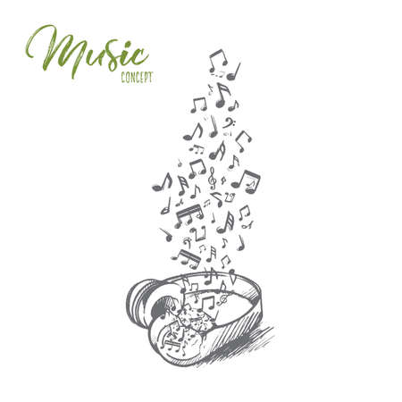 Hand drawn headphone with flying musical notes vector illustration 版權商用圖片 - 100635217