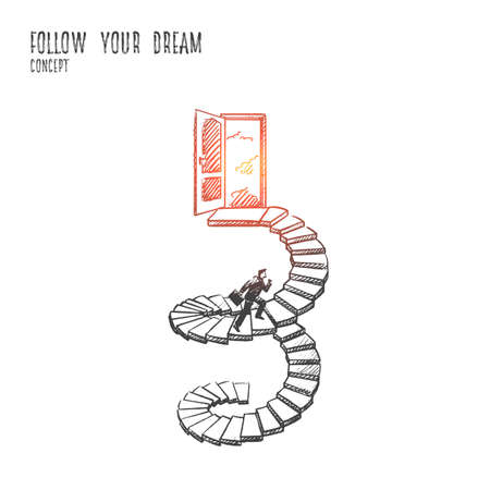 Follow your dream concept vector illustration