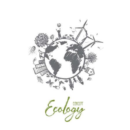 Ręcznie rysowane ilustracji wektorowych zrównoważonego środowiska ekologicznego