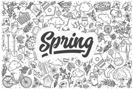 Conjunto de doodle de primavera dibujado a mano. Letras - Primavera Ilustración de vector