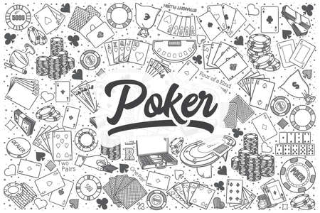 Hand drawn poker doodle set. Lettering - Poker Illustration