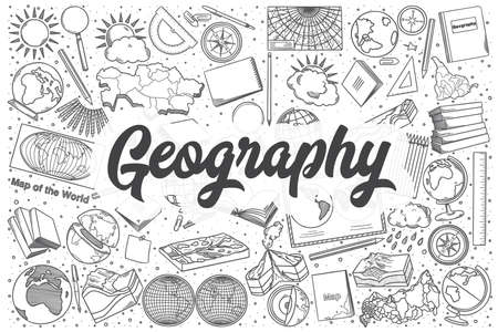 Hand drawn geography doodle set. Lettering - Geography