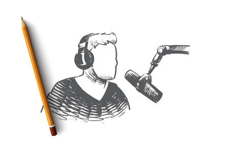 Radio day concept. Hand drawn showman on radio in headphones. Concept of music and World Radio Day isolated vector illustration. Banque d'images - 102495154