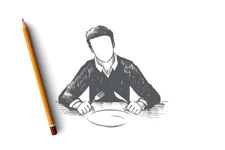 Waiting concept. Hand drawn man holding a spoon and fork with empty white plate in restaurant isolated vector illustration.
