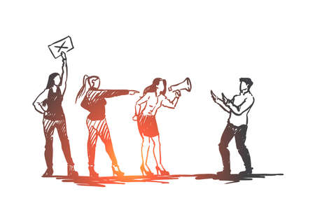 Women, sexual, harassment, abuse concept. Hand drawn women speaking in megaphone against sexual harassment concept sketch. Isolated vector illustration. Illustration