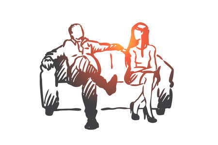 Producer, film, actress, sexual, harassment concept. Hand drawn producer offer actress role in film but pretend on sex concept sketch. Isolated vector illustration.