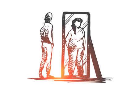 Fille, miroir, corps, déformé, concept de poids. Adolescente malheureuse dessinée à la main regarde le miroir avec croquis de concept d'image corporelle déformée. Illustration vectorielle isolé. Vecteurs