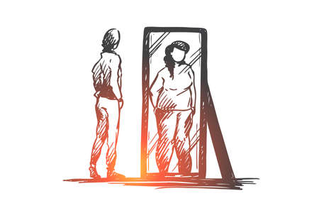 Girl, mirror, body, distorted, weight concept. Hand drawn unhappy teenage girl looks at mirror with distorted body image concept sketch. Isolated vector illustration. Vector Illustration