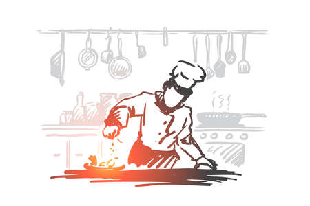 Cooking, chef, food, meal concept. Hand drawn chef preparing dish in restaurant concept sketch. Isolated vector illustration.