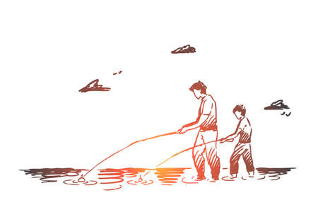 Fishing, river, father, son, catch concept. Hand drawn dad and his son fishing together in river concept sketch. Isolated vector illustration.