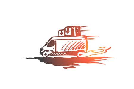 Fast, delivery, service, transport concept. Hand drawn shipping service transport concept sketch. Isolated vector illustration. Illustration