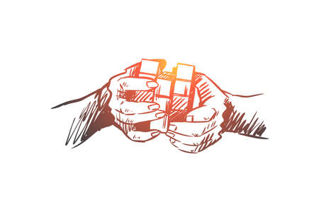 Idea, brainstorming, creative, innovation, mind concept. Hand drawn Rubik's cube in humans hands as symbol of brainstorming concept sketch. Isolated vector illustration.