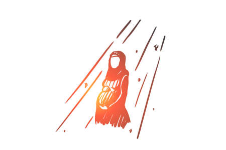 Religion, pregnancy, muslim, arabic, islam, mosque concept. Hand drawn pregnant muslim woman in rays of sun concept sketch. Isolated vector illustration.
