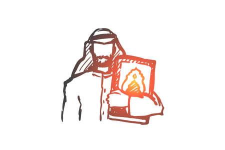 Man, Koran, religion, muslim, arabic, islam concept. Hand drawn muslim man with Koran book in hands concept sketch. Isolated vector illustration.