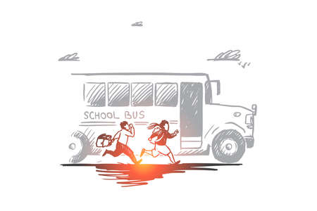 Back to school, rush, purpose, first of September concept. Hand drawn school bus with pupils concept sketch. Isolated vector illustration. Vecteurs