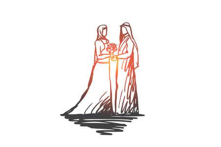 Mariage, mariée, ensemble, fiançailles, concept de l'islam. Concept dessiné à la main. Mariée et le marié dessinés à la main dans l'esquisse de concept de robe de mariée musulmane. Illustration vectorielle isolé.