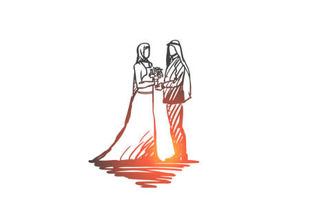 Wedding, groom, bride, couple, muslim concept. Hand drawn muslim wedding, groom and bride concept sketch. Isolated vector illustration 向量圖像
