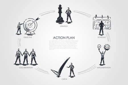 Actieplan - strategie, samenwerking, controle, implementatie, objectief concept. Hand getekend geïsoleerde vector.