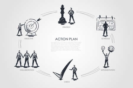 Action plan - strategy, collabororation, check, implementation, objective concept. Hand drawn isolated vector. Stock Illustratie